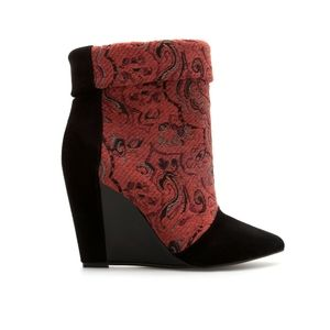 Zara Fabric Wedge Ankle Boot